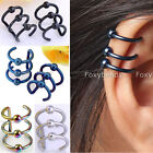 2x Stainless Steel Round Ball Hoops Closure Fake Cartilage Clip Ear Cuff Earring