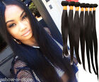 """STRAIGHT INDIAN 100% Real Human Hair Extensions 10""""-30"""" Natural Color Grade 6A"""