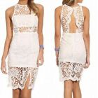 Elegant Ladies Vent Lace Crochet Backless Hollow-out Bodycon Cocktail Dress -CB