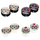 Value Pack 4 PAIRS Mexican Sugar Skull Acrylic Flesh Tunnel Black White Ear Plug