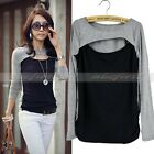 Womens Fashion Long Sleeve Shirt Blouse T-Shirt Crew Neck Hollow Out Front Tops