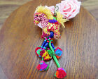 Pom Pom trim of  Thai Indian hmong bag Horse key chain purse charm ringing bells