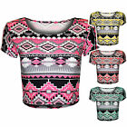 NEW LADIES AZTEC PRINT CROP TOPS WOMENS CAP SLEEVE STRETCH TSHIRT ROUND NECK TOP
