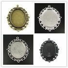 Antique Style Bronze Tone Alloy  Cameo Setting Tray Pendant Charm