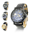 NEW MEN'S CHARMING BLACK LEATHER SKELETON MECHANICAL SPORTS ARMY WRIST WATCH