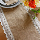 Shabby Chic Burlap Lace Hessian Table Runner Natural Jute Scallop Edge Barn
