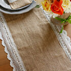 Natural Burlap Table Runner Scallop Lace Get Free of Light Blue Small Burlap Bag