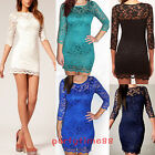 Chic Womens Vintage Lace Bodycon See through Party Casual Business MIni Dress