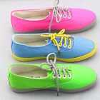 Women Girl Ladies Canvas Shoes Flat Pumps Lace Up Casual Trainers Size 2.5''-5''