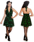 NEW HELL BUNNY ROBYN PIN-UP BAT DRESS S M L HORROR GOTH ROCKABILLY GRN BLK USA