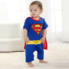 Superman Super Hero Baby Boy Infants Romper With Cloak Outfit Bodysuit 0-24M Hot