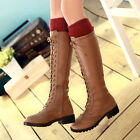 NEW Women's Mid Calf Combat Boots Lace Up Low Heels Faux Leather Riding Boots