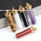 1X Amethyst Quartz Gemstone Crystal Golden Crown Charms Pendant for Necklace
