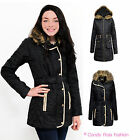 LADIES FAUX FUR QUILTED HOODED WOMENS GOLD ZIP BUTTON JACKET COAT SIZES 8-14