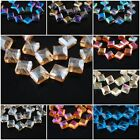 Lots Crystal Diagonal Square Bead Spacer Craft Jewelry Charms 14mm Faceted Glass
