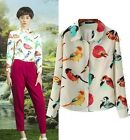 FD328 European Womens Girl Collar Bird Print Chiffon Long Sleeve Shirts Blouse