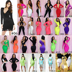Long Sleeve DEEP V NECK OPEN BACK CUT OUT BACK BODYCON EVENING CLUBWEAR DRESS