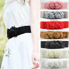 IP26 women's elastic belts large flowers bow waistband ladies wide girdle belts