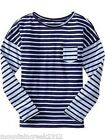 NWT OLD NAVY Girls Mixed Stripe Drop Shoulder Tee Top Blue U Pick Size NEW