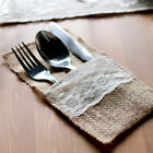 Jute Burlap Tableware Pouch with Lace Trim Wedding Party Favor Craft Bags