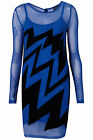 TOPSHOP BLUE MESH ZIG ZAG BODYCON DRESS  NEW