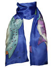 Hand-Painted Rolled Silk Scarf Salmon Many Colors Avail Invisible World NEW