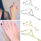 MULTI BANGLE SLAVE GOLD CHAIN INTERWEAVE FINGER RINGS HAND HARNESS BRACELET