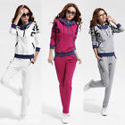 Women 2Pcs Tracksuit Hoodie Sweatshirt Coat+Pant Trouser Casual Sport Sweat Suit