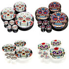 Multiple Sizes Sugar Skull Acrylic Screw Fit Flesh Tunnels Black White Ear Plugs