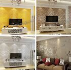 Silver Grey Gold Wall Paper Wallpaper Roll Damask Victorian Embossed Textured CB