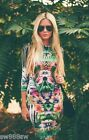 TOPSHOP Floral Botanical Tropical Print Bodycon Dress Celebrity UK 8 OR 10 NEW