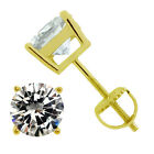 925 STERLING SILVER SOLITAIRE CZ SCREW BACK GOLD PLATED STUD EARRINGS