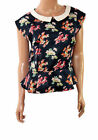 Ladies Navy Blue Floral Vintage Peplum Formal Party Evening Blouse Top Size 8-20