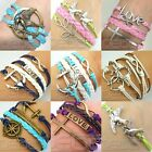 Mix Infinity Anchor Rudder Love Leather Nautical Friendship Bracelet Couple Gift