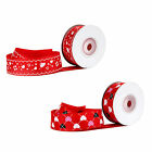 Various heart patterned red grosgrain ribbon 25mm 10 yards and sample lengths