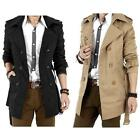 Mens Double Breasted Trench Stock Casual Coat Jacket Overcoat Outwear Sale Star