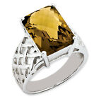 New .925 Fine Sterling Silver Emerald Shaped Whiskey Quartz Ring - Choose Size