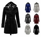 LADIES MILITARY BUTTON HOODED FLEECE WOMENS BELTED JACKET COAT