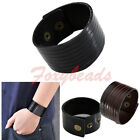 Punk Mens Real Cow Leather Multi-Strand Width Cuff Wrap Wristband Bracelet FB