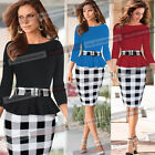 Women Colorblock Tartan Peplum Tunic Work Cocktail Party Sheath Pencil Dress 341