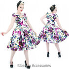 RKH62 Hearts & Roses Purple Pansies Rockabilly Evening Dress 50s Retro Plus