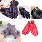 New Ladys Womens Gloves Autumn Winter PU- leather Cute Rabbit Fur Ball Warm