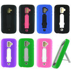 For Coolpad Quattro II 4G 801E Rugged Double Layer Hybrid Case w/ Kickstand