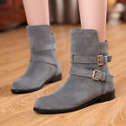 Hot Women Causal Buckle Sample Style New Faux Suede Ankle Boots Slip On Shoes
