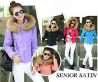 HOT Womens Winter Fur Collar Hooded Cotton Down Jeaket Short Thin Coat Outwear