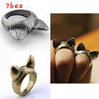 1x Chic Korean Fashion Cute Cat Ears Girl Finger Ring Cocktail Ring Size6.5 Gift