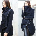 Womens New Zipper PU Warm Jacket Long Coat Trench Windbreaker Parka Outwear Hot