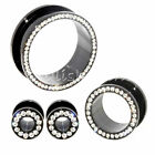 Multiple Sizes PAIR Clear Crystals Black Stainless Steel Flesh Tunnels Ear Plugs