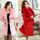 HOT Women's Slim Winter Warm Coat Long Wool Jacket Fur Collar Outwear With Belt