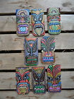 Fair Trade Indonesian Hand Carved Made Wooden Dot Painted Tiki Mask Plaque 20cm